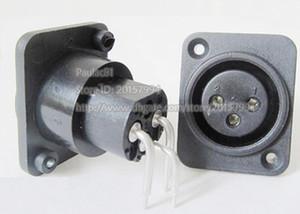 Conector XLR 3Pin Female Jack Conector de Montaje en Panel Angulado Derecho Color Negro / Envío Gratis / 6PCS