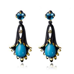 New Morning Glory цветочный дизайн серьги с голубой камнями в золоте и черный Латных Элегантные серьги