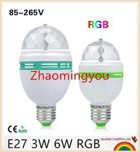 1 Adet E27 3 W 6 W LED lamba RGB Oto Döner Sahne işık Tatil Ampul Ev Dekorasyon Için AC85V-265V Disko DJ Parti Dans aydınlatma