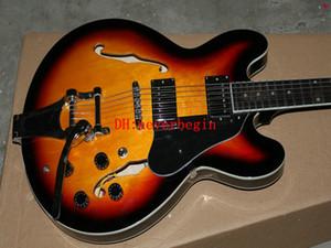 лучшие продажи новых пользовательских Санберст полый корпус джаз гитара бесплатная доставка