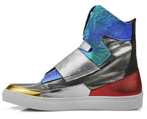 Version coréenne de cuir haut de gamme hommes automne bottes plates argent hommes chaussures marée Martin défilés de scène