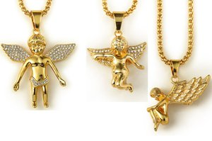 hochwertige 18 Karat Reales Gold Überzog männer hip hop Junge mädchen engelsflügel Tag Anhänger Halskette 80 cm Lange mens hip hop Rock engel Halskette Schmuck