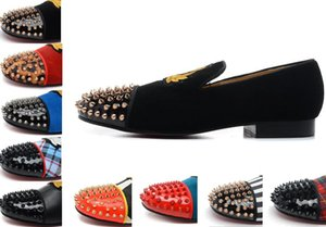 2016 Luxury Red Bottom Mocassini Con Spikes Ricami per Uomo Donna designer flat Loafer amanti scarpe per il tempo libero scarpe da ginnastica Party
