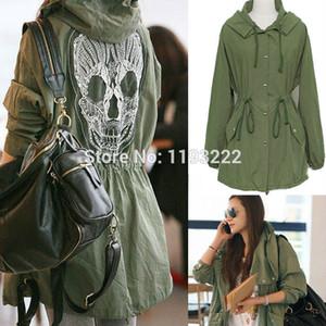 Al por mayor-Mujeres Moda Punk Gothic Army Hoodie verde con capucha Drawstring abrigos Skull Embroidery Lace Mesh Chaquetas prendas de vestir exteriores