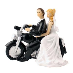 كعكة الزفاف توبر مع العروس والعريس زوجين تمثال دراجة نارية عاشق كعكة الديكور لحضور حفل زفاف الذكرى
