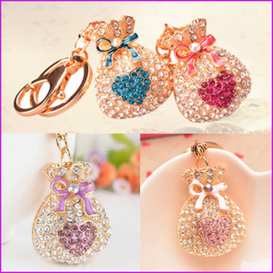 Trendy Gift Cute Bling Rhinestone Lucky Bag Keychain Car Love Key Chain Ring Pendant For Bag Charm
