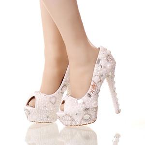 2019 الصيف اللمحة تو أحذية بيضاء اللؤلؤ الزفاف العرسان 14 سنتيمتر عالية الكعب منصة الكريستال العروس أحذية اليدوية حفلة موسيقية مضخات