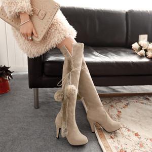 Сапоги осень и зима скраб бежевый свадебные свадебные туфли мех длиной до колен высокий каблук 9 см платформа 1 см тонкий каблук EUR размер 34-43