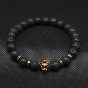 Lava Bracciali perline oro antico all'ingrosso ha placcato Buddha Leone Leone Bracciale testa nera di pietra per gli uomini donne