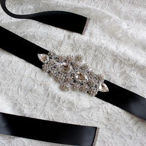 12 colores cristales mujeres cinturones hechos a mano de alta calidad de diamantes de imitación de la boda de cristal satinado Tie Back gota de agua Rhinestone grande
