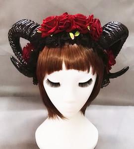 Restyle Sheep Horn Rose Fleur Bandeau Gothique Beauté Horreur Halloween Voile Noir Dentelle Rétro Accessoires De Cheveux Coiffure Vintage Chapeaux