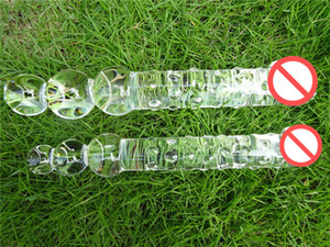 Big Glass Dildo Enorme Cristallo Pene Double Ended Large Pyrex Perle Anali Butt Plug Ass Balls Giocattoli del sesso per le donne uomini gay Lesbiche
