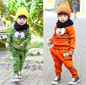 Hot vendita autunno inverno ragazzo abiti bambini abiti verdi arancio fronte di sorriso chiusura lampo della tasca di un ragazzo Top casuale + pant manica lunga in cotone 2 calci piazzati