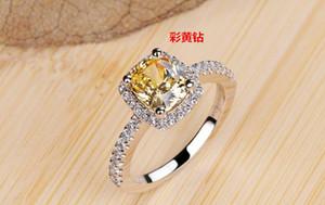 ZHF Jewelry 2 Ct Yellow CZ Diamant Weddings Anelli per donna Real 925 Sterling Silver Sona Simulated Diamant Anello gioielli