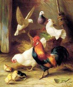 frango e Pigeon, Genuine Art Pintura a óleo pintado à mão animal On High lona Qualidade, em tamanho personalizado aceito