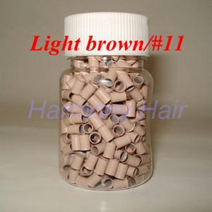 1000pcs / bottle 3.0mmx2.6mmx6mm Micro Anneaux De Cuivre Liens / Perles Pour Extensions De Cheveux outils 8 couleurs