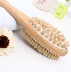 2-in-1 Sided Natural Bristle Body Brush Double Sided Body Scrubber Massage Brush Long Handle Spa Shower Brush