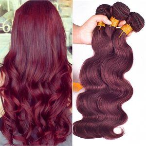 3pcs Lot 페루 부르고뉴 헤어 위브즈 # 99J 바디 웨이브 페루 인간 헤어 익스텐션 8A Wine Red Peruvian Hair