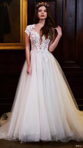 2016 La nouvelle conception dentelle Robe de mariée pas cher Bohème Dentelle Place Illusion spéciale de mariage Dressess Custom Made organza Robes de mariée