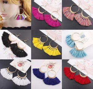 17 colori Moda Donna Boemia orecchini nappa lunga frangia ciondola l'orecchino gancio Eardrop monili etnici regalo