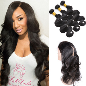Brazilian Peruvian Malaysian Indian Human Hair 3 Bundles Body Wave With 1pc of 360 lace frontal closure For a Full Head Hair Extension