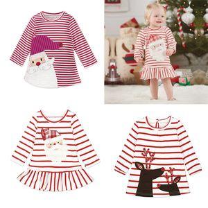 Baby Girls Christmas Party Costume Cosplay Principessa Babbo Natale Deer Elk Dress Stripe manica lunga gonna