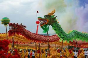18m tamaño adulto # 3 de seda de tela de la impresión 10player chino Dragon Dance etapa de la boda de la mascota china al aire libre traje de cultivo especial fiesta