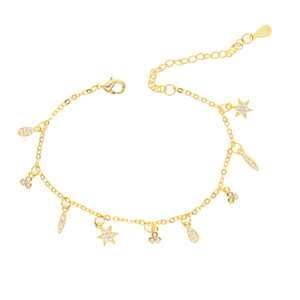 2017 fashion jewelry delicate cz charm tiny cute girl gold chain 16+5cm luxury dangle charm gold plated bracelet