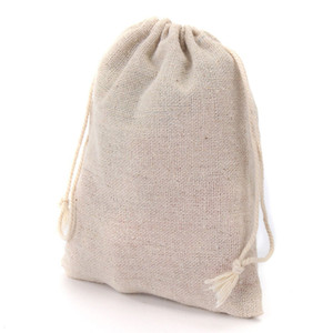 Petits sacs de cadeau de cordon de mousseline de soie coton lin sacs à bijoux Vintage emballage cas de faveur de mariage de nombreuses tailles sacs de jute Logo personnalisé