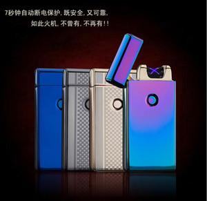200PCS USB 충전식 가벼운 방풍 슬림형 더블 아크 아크 펄스 창조적 인 전자 담배 라이터 무료 배송 10 색