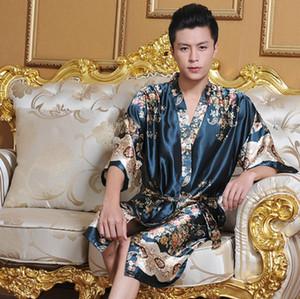 Gros-2016 Faux soie Mens robe peignoir pour hommes vêtements de nuit mens kimono hommes robes de nuit hommes de satin pyjama dragon peignoir homewear