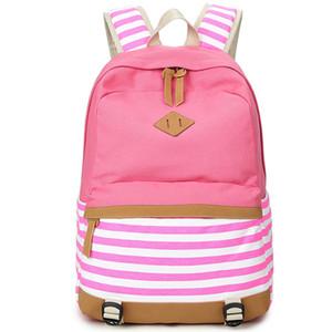 XQXA Preppy School Bags Mochila para Niñas Adolescentes Lona Linda Impresión de Rayas Mujeres Mochila Bolso Mujer Escolar Mochilas