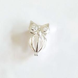 925 Silber Inlay Shiny Edelsteine Augen Owl Medaillon Käfig, kann öffnen Perle Edelstein Bead Cage Anhänger, Sterling Silber Anhänger Montage DIY Schmuck passend