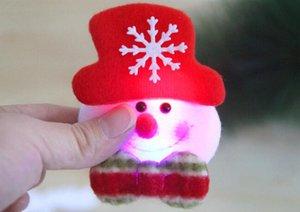 Decoraciones navideñas flash de navidad paño arte broche de Santa Claus broche luminoso 3.5 pulgadas regalos de Navidad envío gratis BP001