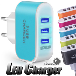 US EU Plug 3 USB Wall Chargers adaptador de corriente 5V 3.1A LED Travel conveniente adaptador de corriente con puertos triples USB para teléfono móvil