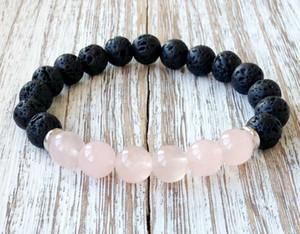 SN1061 Venta Caliente Rosa Cuarzo Lava Yoga Pulsera Cristales Curativos Muñeca Mala Cuentas Chakra Joyería de Piedra Natural Para Mujer Pulsera de Yoga