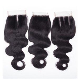 Großer Verkauf! Brazilian Virgin Mix Textur Menschliches Haar Günstige 3.5x4 Top Spitze Closures Stücke mit gebleichten Knoten Freie Mittel drei Teillager
