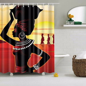 Newest High Quality Bathroom Waterproof Beach African Woman Shower Curtain with 12pcs Curtain Hooks Rings Bathing for Home