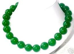 """New Fine jewelry 18"""" Imperial Natural Green Jade 12mm Round Beads Necklace"""