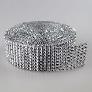 """1.55 """"x30 feets الفضة الماس التألق حجر الراين يلتف الشريط الزفاف ديكور المنزل شحن مجاني"""