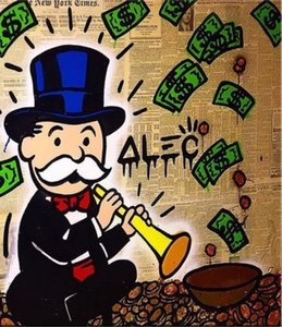 Serpiente de dinero, Alec Monopol pintado a mano genuino Graffiti de dibujos animados Pop Art Pintura al óleo Museo de la lona Calidad cualquier tamaño personalizado Disponible
