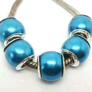 100 Pz / lotto Bella Teal Colore Imitazione Perla Argento nucleo Beads sciolto Europeo Big Hole Acrilico Branelli di Fascino per Monili Che Fanno Prezzo Basso