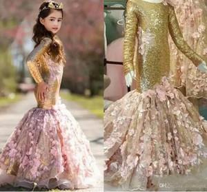 2018 Vintage Gold Sequined Mermaid Flower Vestidos para niñas Escote redondo Manga larga Cremallera Volver 3D-Apliques florales Vestido largo para niña