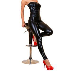 Classic Black Faux Leather Jumpsuit 50% Popular Night Club Catsuit sexy sem mangas Onesies Off-ombro Olhar Molhado PVC Jumpsuit