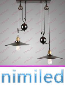 nimi672 1/2/3-Light Vintage RH Loft Industriel LED Pays américain Réglable L Poulie Lustre Pendant Lumières Éclairage Lampes Retracta