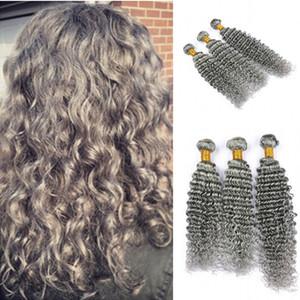Sin procesar de color gris Deep Wave Hair Weaves Deep Curly 100 Human Hair 3Bundles Extension para mujer Envío gratis