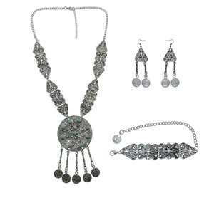 Mode Bohemian Ethnic Geschnitzte Blume Quaste Münze Anhänger Inlay Grün Stein Halskette Ohrringe Armband Für Frauen Schmuck-Set