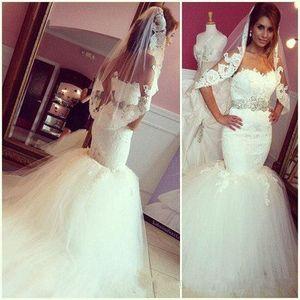 Robes de mariée de luxe 2016 Dasse Dentelle Beach Beach Robes de mariée Mermaid Sweetheart Appliques perlées Blanc Tulle Fluffy Tulle Sashes 2017 Robe de mariée