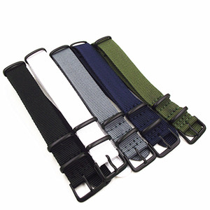 مشبك أسود بالجملة 1pcs جودة عالية 18m 20MM Nylon watch band NATO straps water against water waster 5 colors available