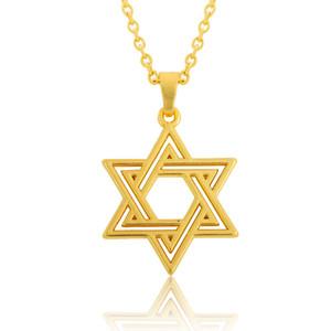 Collana ciondolo stella ebraica David Unisex classica placcata oro 18 carati